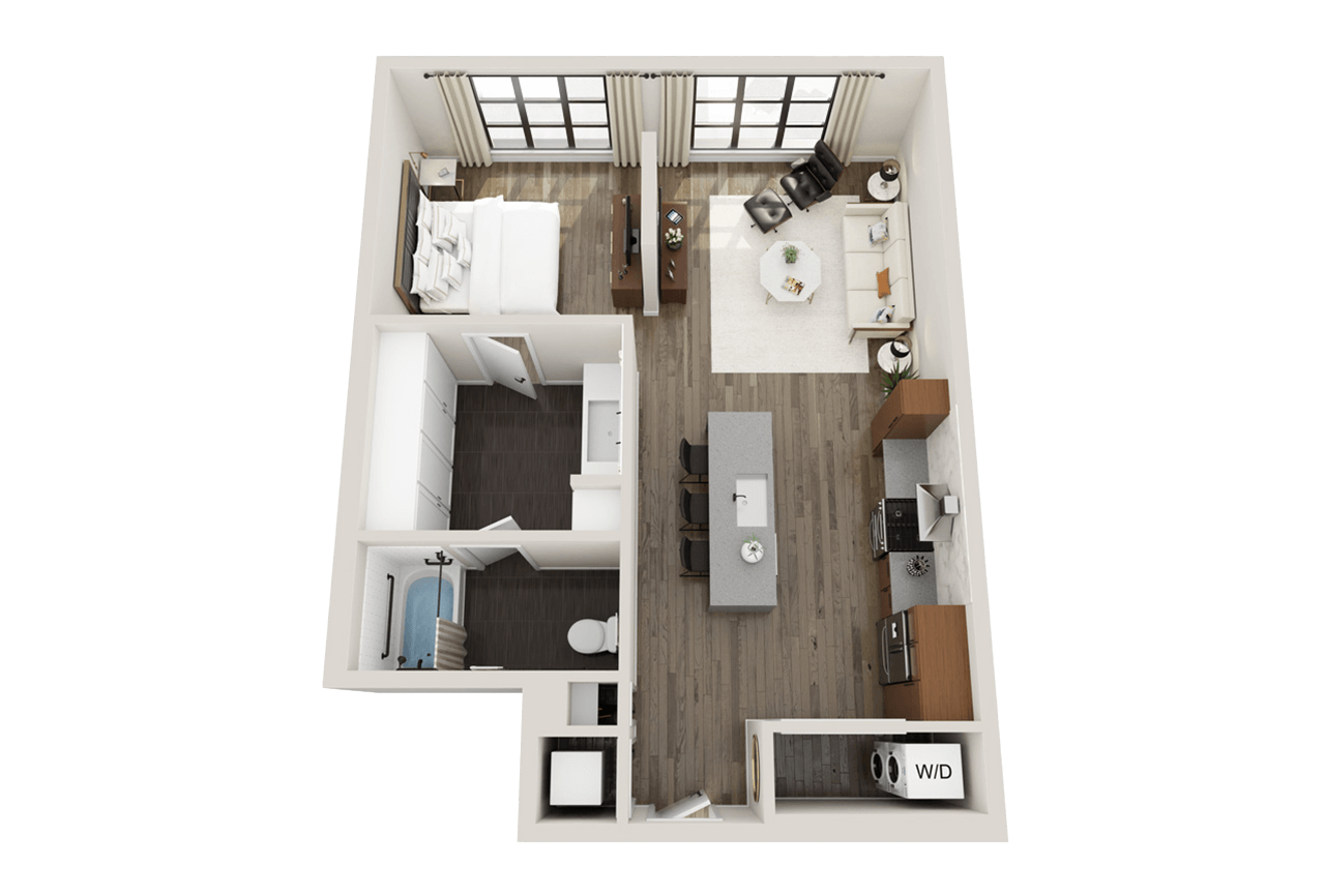One bedroom, one bathroom, ADA accessible