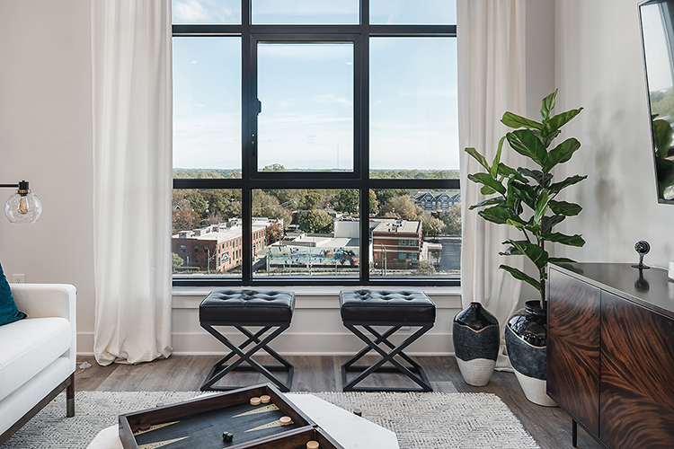 Large window view from living room